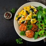 farfalle-pasta-durum-wheat-with-baked-meatballs-PQBKRNX