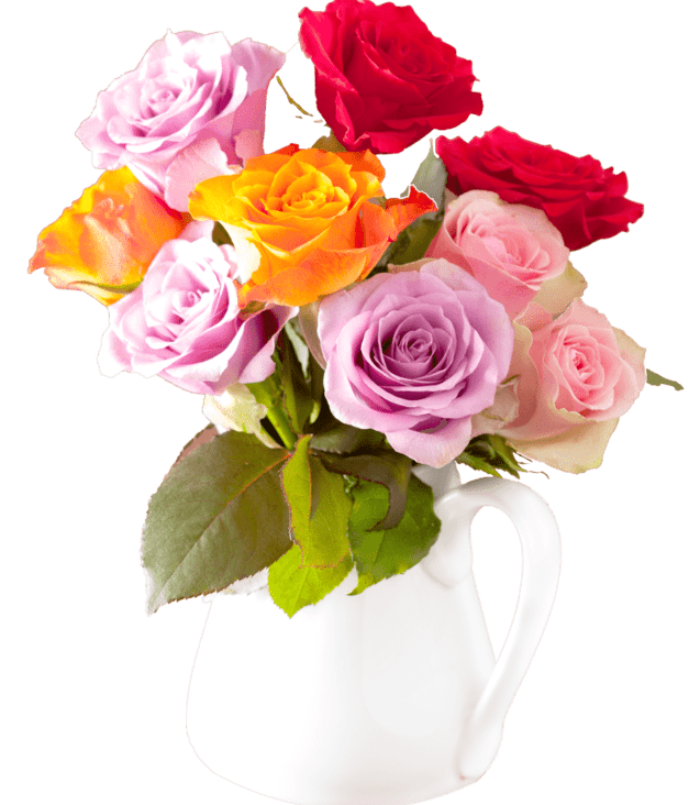 beautiful-colorful-rose-flowers-bouquet-in-vase-PVMA7LL